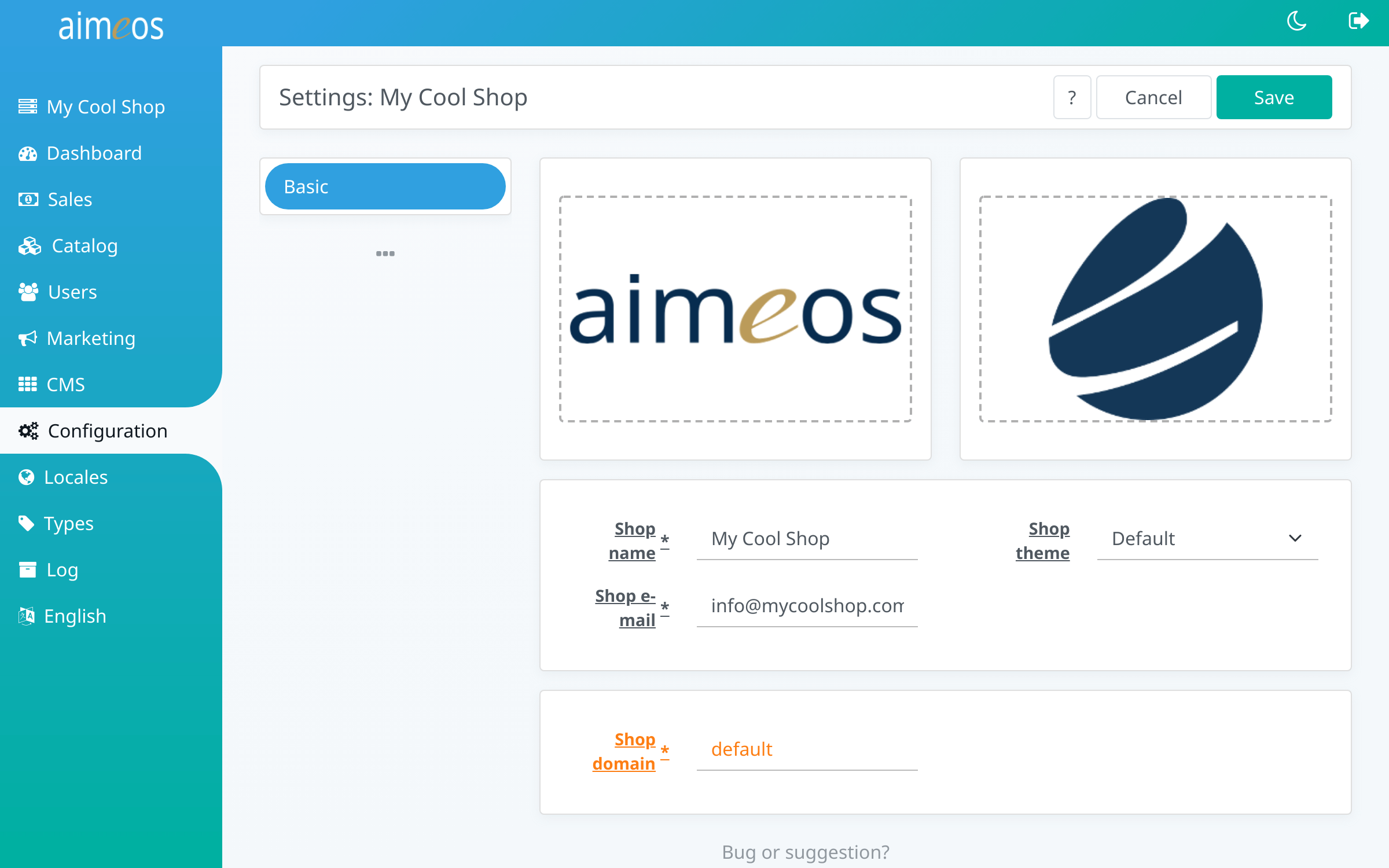 Aimeos settings panel in admin backend